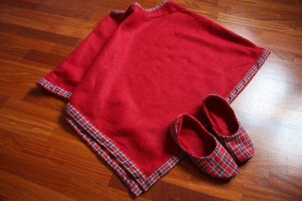 Red Poncho and Slippers for Comfy Winter Around the House.