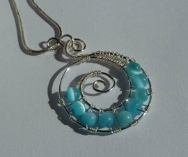 Swirled Wire Beaded Pendant