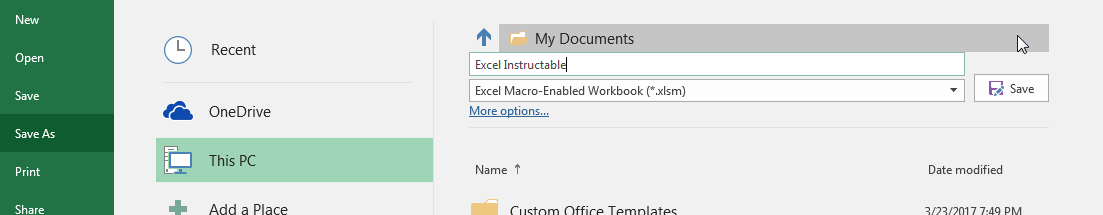 "Picture of Save and Close the Sheet As a ""Macro Enabled Workbook"""