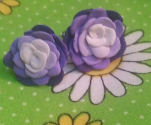 Ombre Polymer Clay Rose Earrings