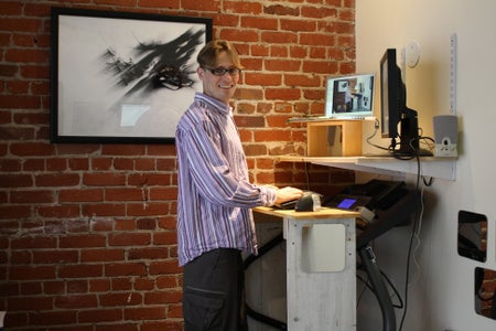 Keyboard Platform Attached to Treadmill; Desk Attached to Wall 1