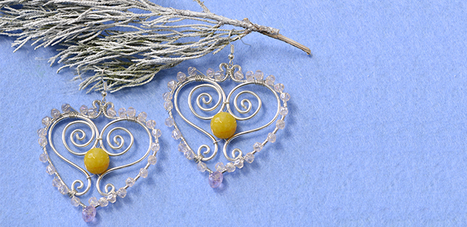 Picture of How to Make Wire Wrapped Heart Earrings With Glass Beads and Jade Beads