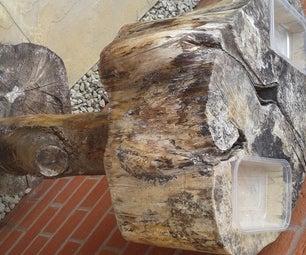 Log Bird Bath