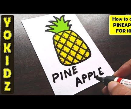 HOW TO DRAW PINEAPPLE FOR KIDS