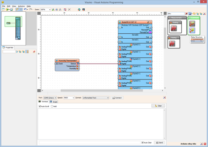 In Visuino: Add Make Structure Component, and Add Analog Channels to It