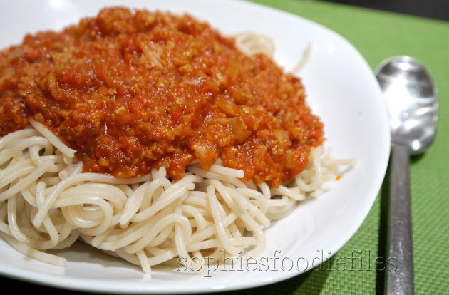 Picture of Vegan Veggie Seitan Pasta Sauce on a Bed of Spelt Spaghetti
