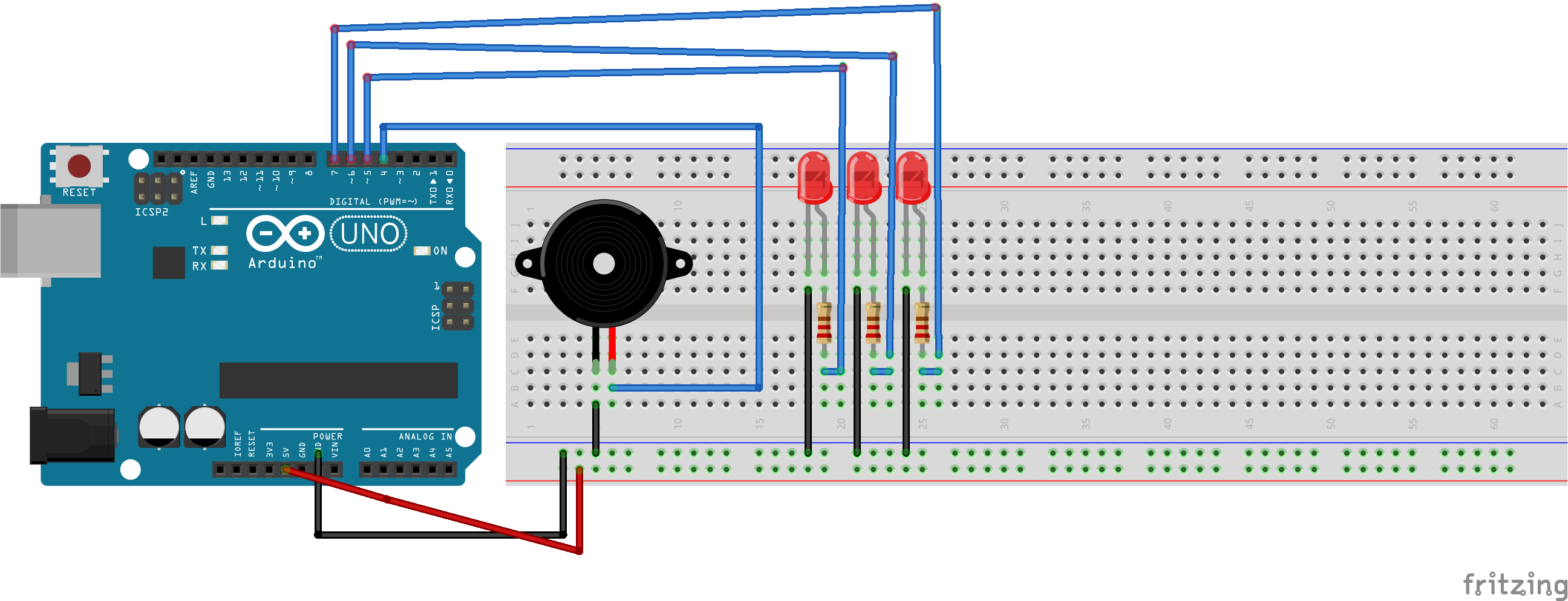 Picture of Add 3 LEDs to the Breadboard