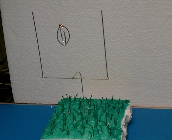 Miniature Football Field Goal, Football, and Grass (Made Out of Wire)