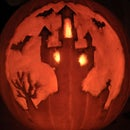 Castle on a hill - pumpkin carving