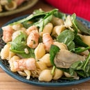 20-Minute Pasta Salad With Shrimp and Spinach