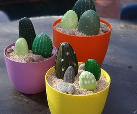 Painted pebble cacti for deck or patio