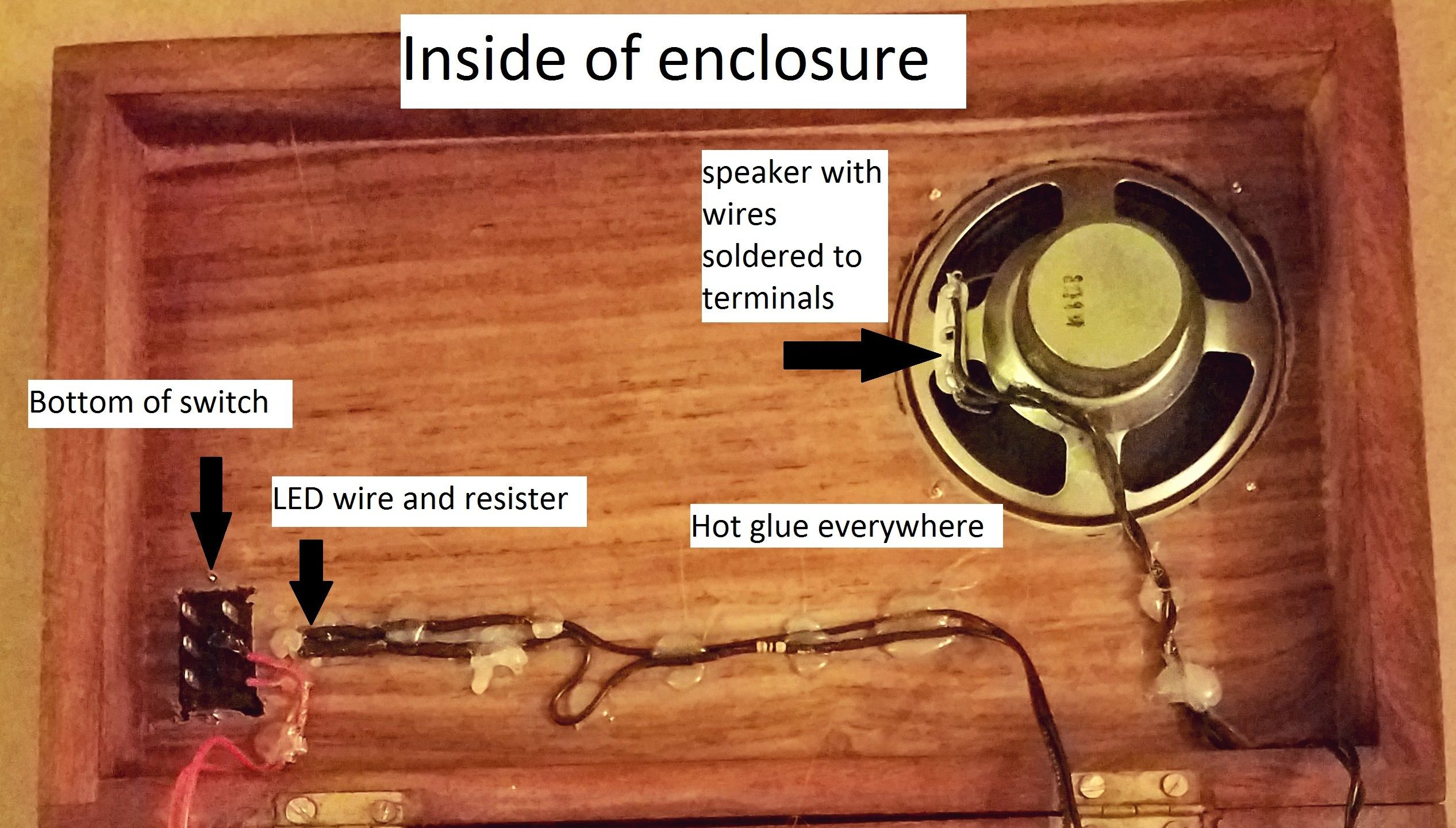 Picture of Solder Hook-up Wires to the Speaker, LED and Switch