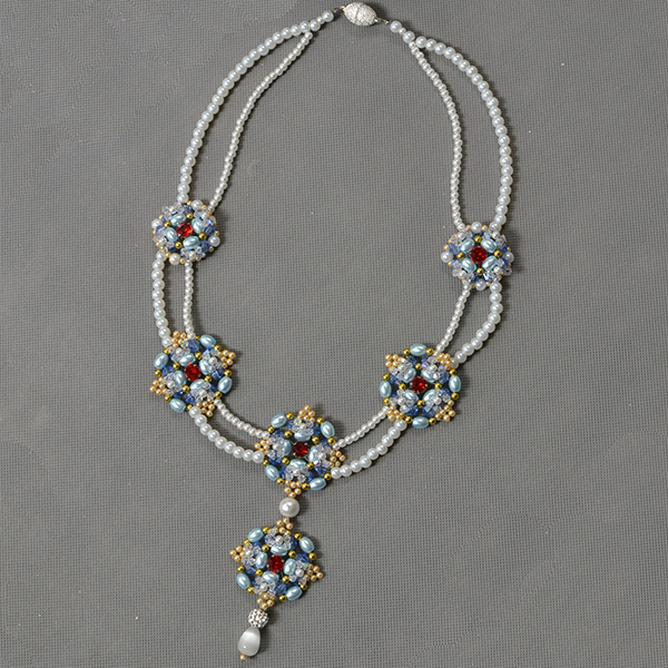 Picture of Time for the Final Look of the 2 Strands Pearl Beads Pendant Necklace:
