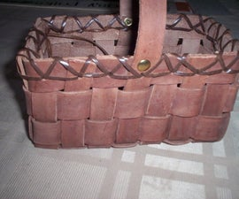 A Leather basket, gift
