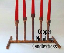 Copper Pipe Candlesticks