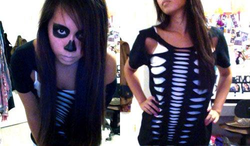 Skeleton Halloween DIY Costume & Makeup - Cut Up T-Shirt