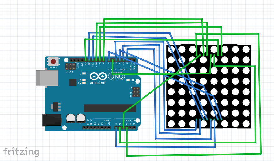 Picture of Arduino to 8x8 Led Matrix Pinout