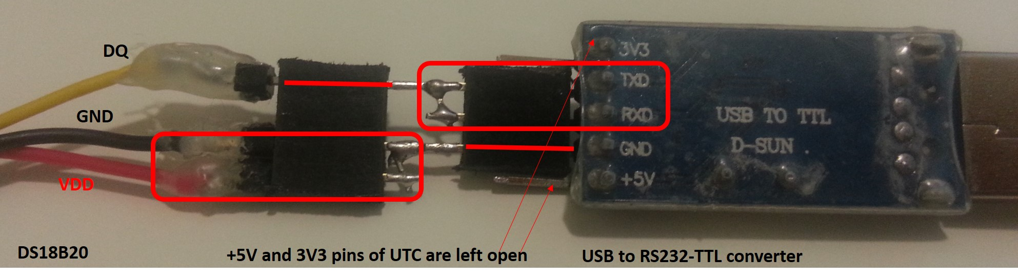 Picture of Hardware Connections Between DS18B20 (DS) and USB to RS232 TLL Converter (UTC)