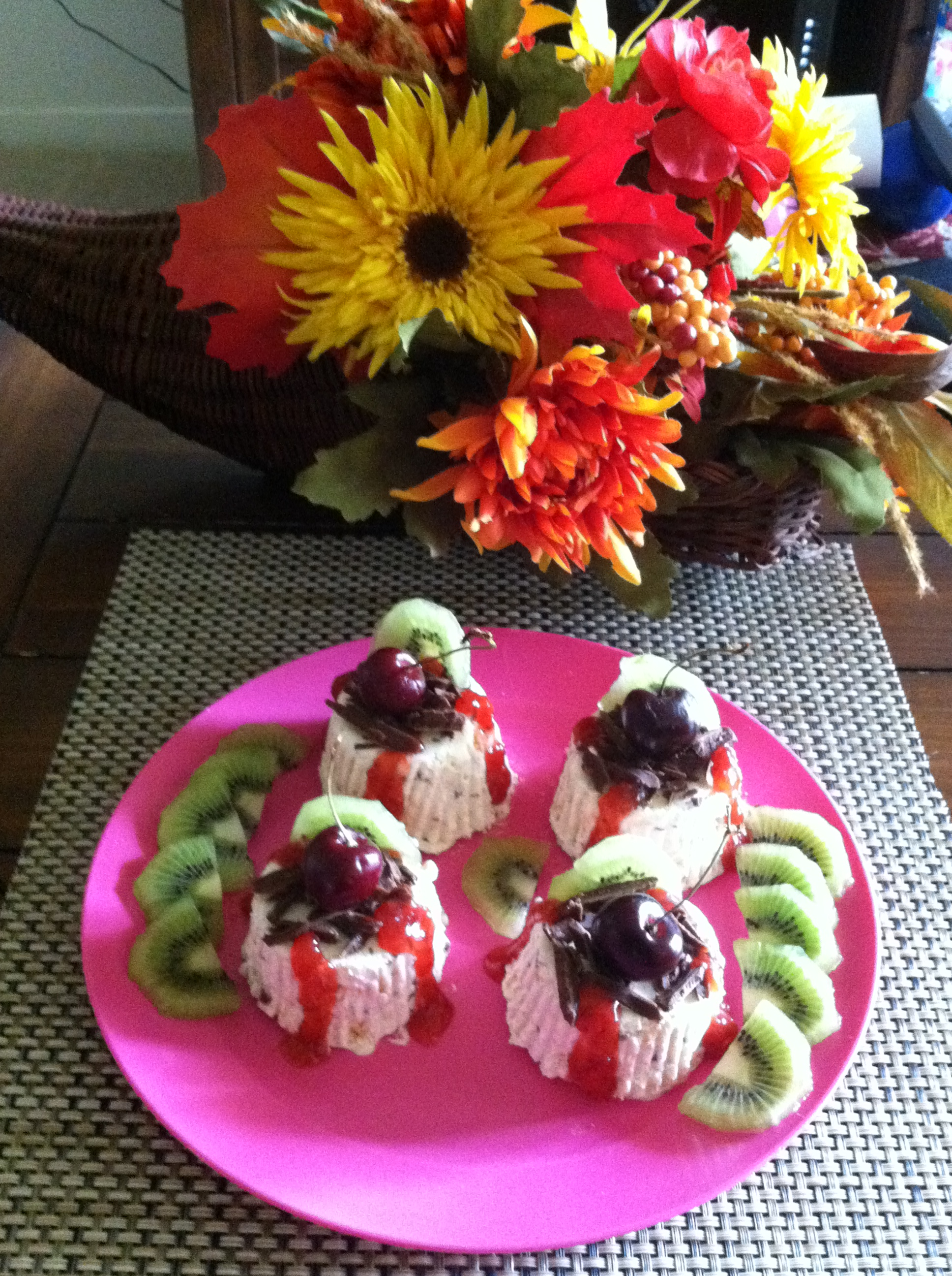 Picture of Meringue and Coffee Liqueur Semifreddo Topped With Chocolate Shaving,strawberry Preserve,kiwi and Cherry