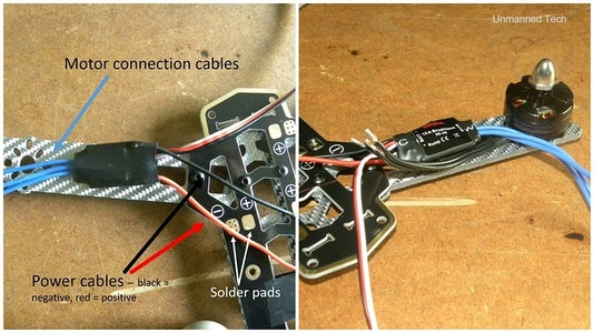 Cutting and Soldering the Motor and ESC Wires Down to Size
