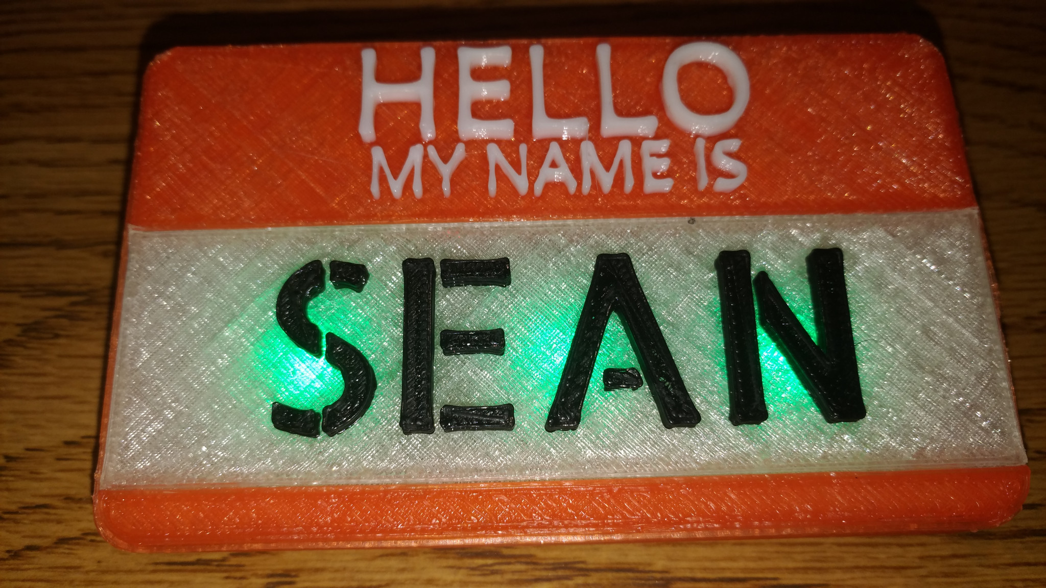 Picture of 3D Printed Flahing LED Name Tag - Get Your Name in Lights!