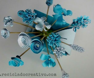 Bouquet of Blue Flowers Recycling a Blue Box