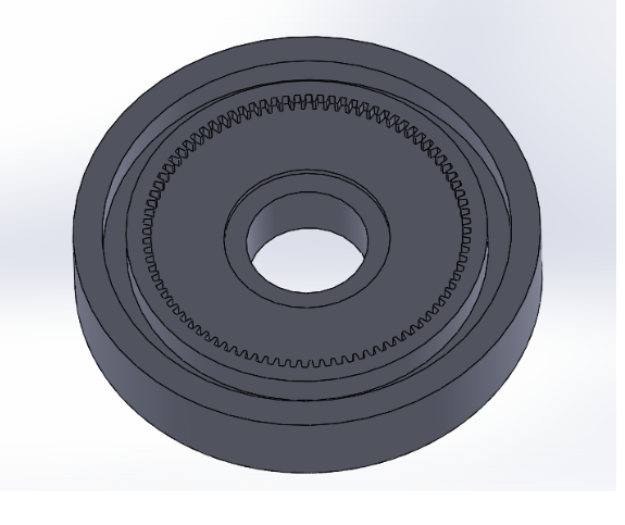 """Picture of Sketch a Circle With Diameter 34.96mm at the Center of the Front Plane, """"extrude Cut"""" All the Way Through the Gear"""