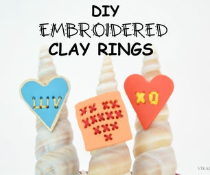 DIY Embroidered Clay Rings