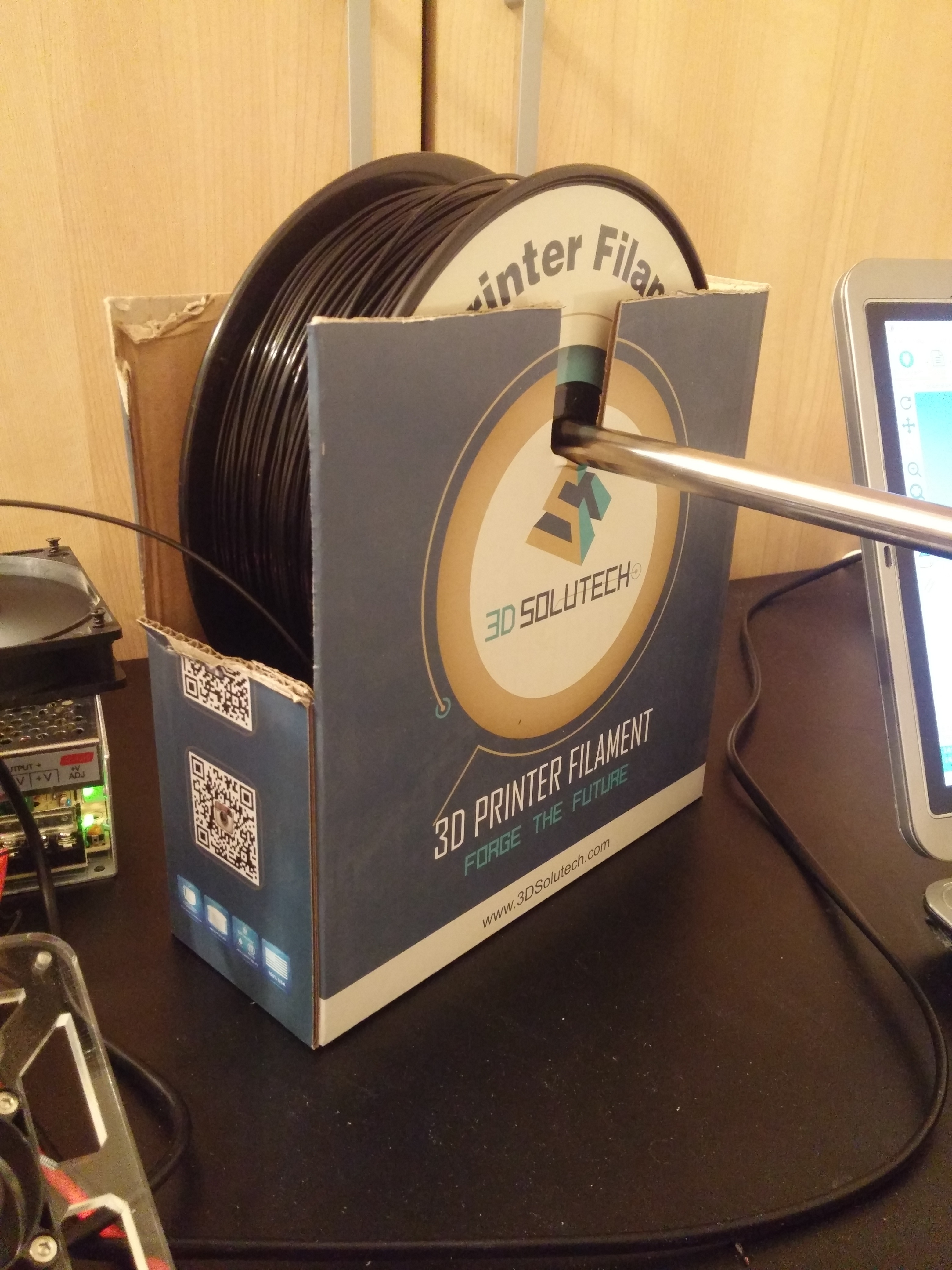Picture of Life Hack: 30 Second 3D Printer Filament Spool Holder