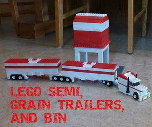 LEGO Semi, Grain Trailers, and Bin