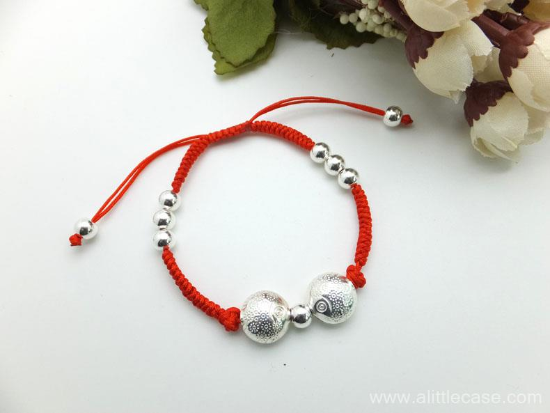 Picture of Handcraft Sterling Silver Kissing Fish Braided Bracelet & Braided Anklet