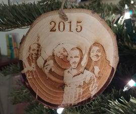 Laser engraved Christmas ornament