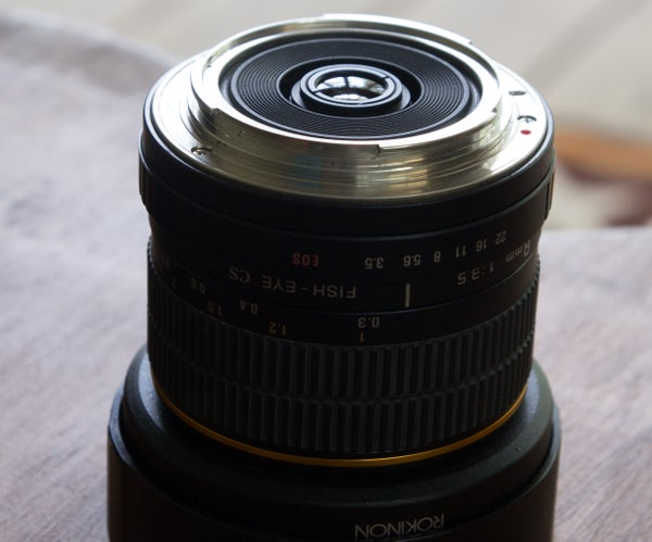 Rokinon 8mm Lens Rear Mounted Filter on a Canon