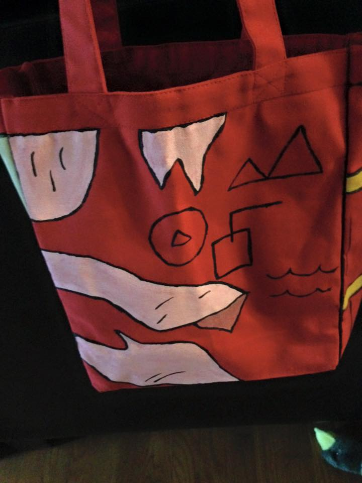 Picture of Use a Red Tote Bag and Acrylic Paints