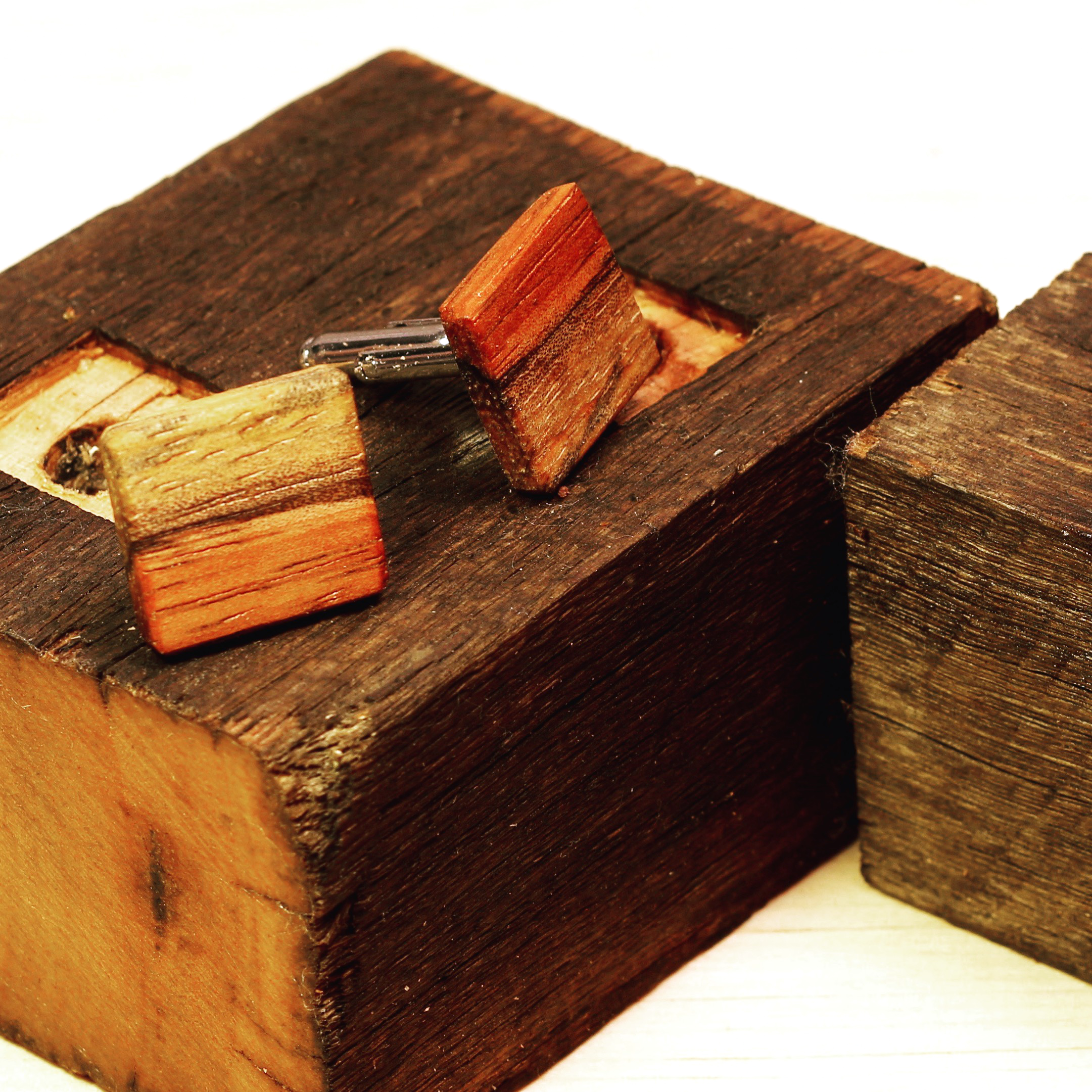 Picture of Wooden Cufflinks With Rustic Display Stand From Reclaimed Wood