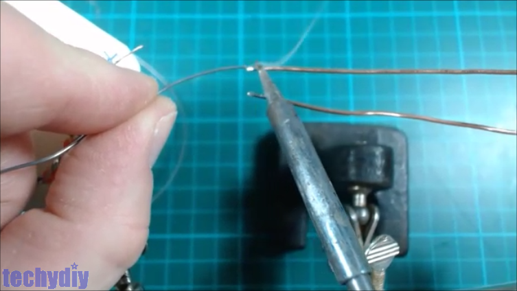 Picture of Solder Stiff Supply Wires to the Led Heart