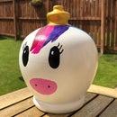 3D printed and hand painted Rainbow Unicorn Terramundi Jar