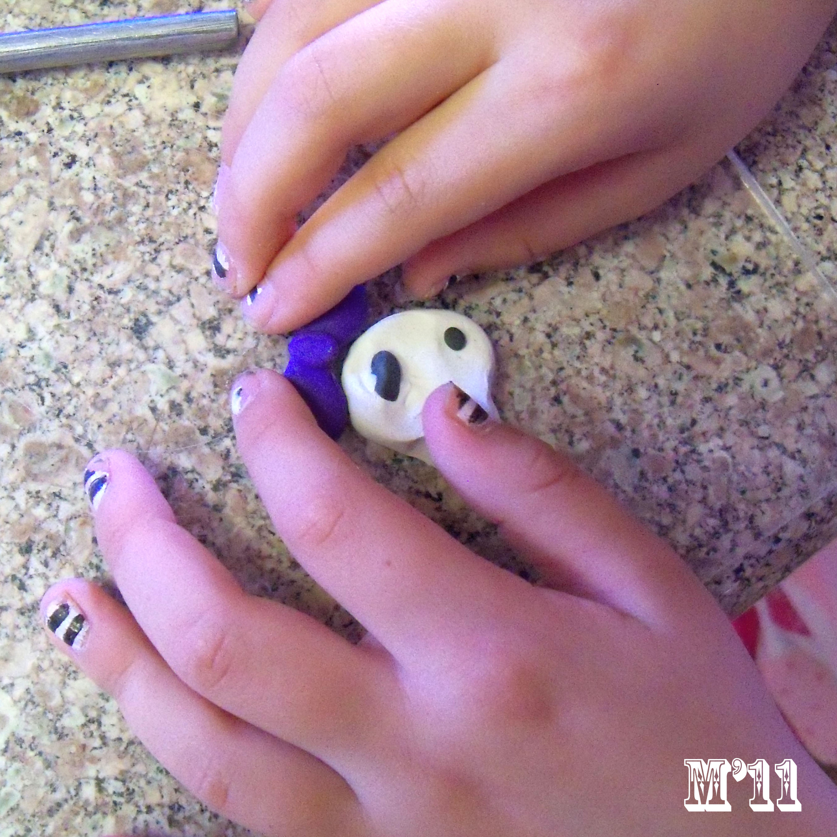 Picture of Polymer Clay Spiderweb and Skull Tutorials