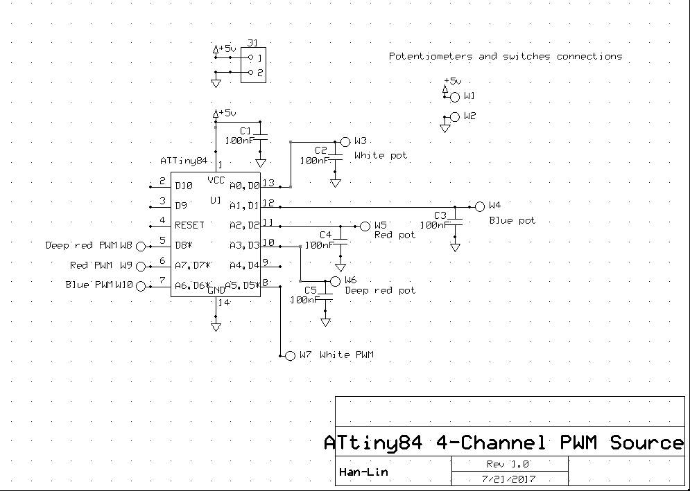 Picture of Four Channel ATtiny84 PWM Signal Source
