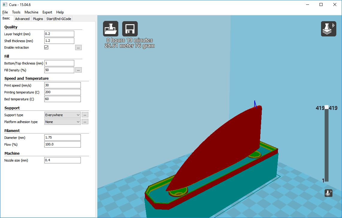 Picture of Cura Screen Grabs of the 50mm Fin