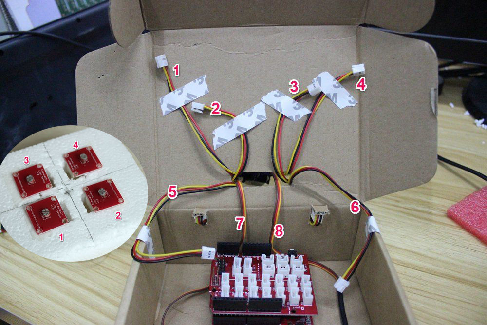 Picture of Connect 4 Sensors to the Shield