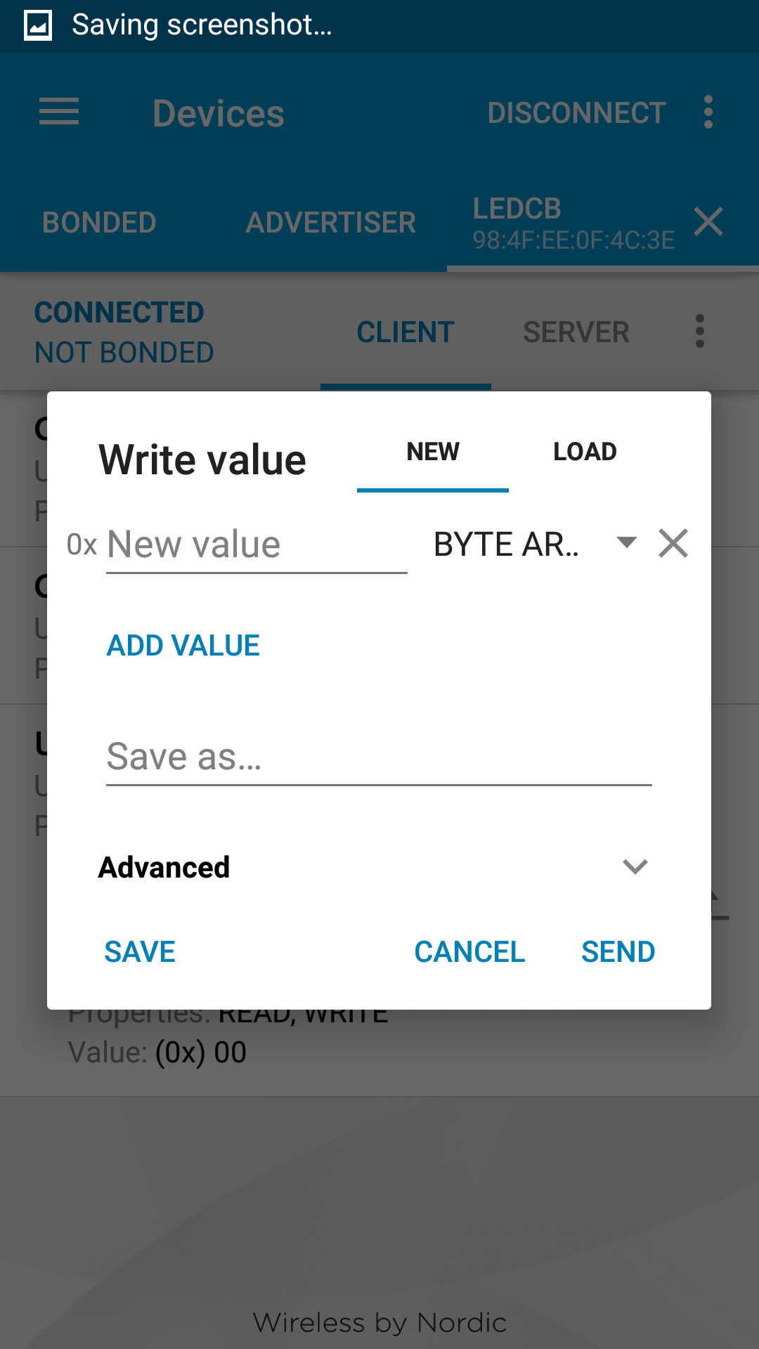 Picture of Sending Bytes to the Arduino 101 Over BLE