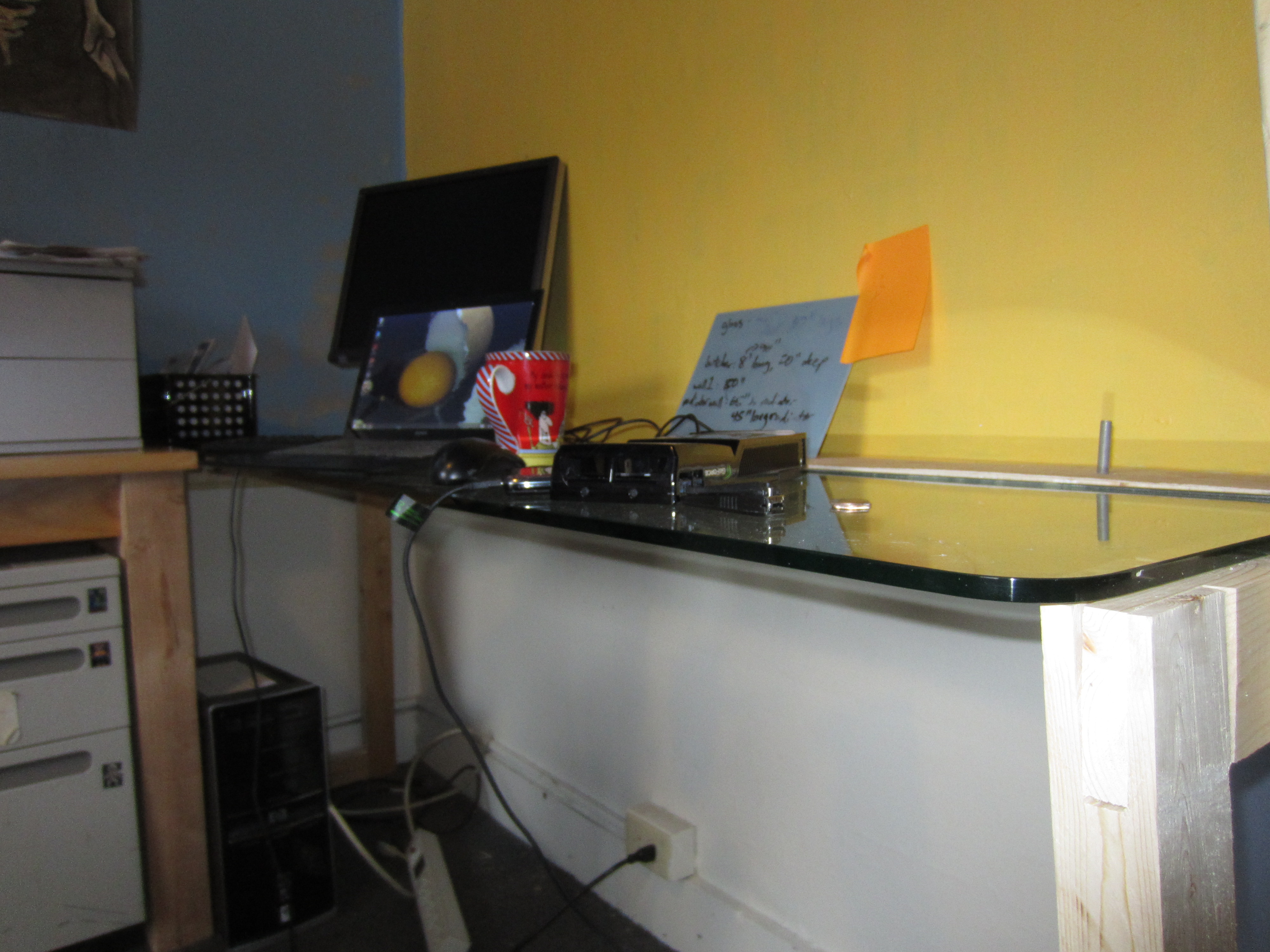 Picture of Glass Desk From Salvaged Buffet Counter