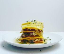 Zucchini and Tomato Lasagne With Basil Pistachio, Tomato Sauce, and Pignoli Ricotta