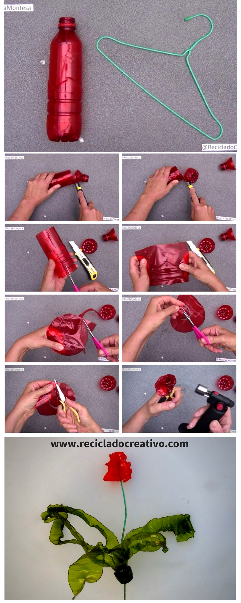 Picture of Step by Step. Before and After. How to Make a Flower - Red Rose