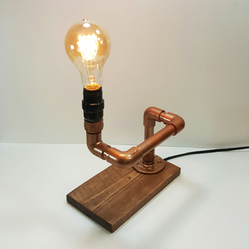 Picture of Edison Lamp Made With Wood and Faux Copper Pipe