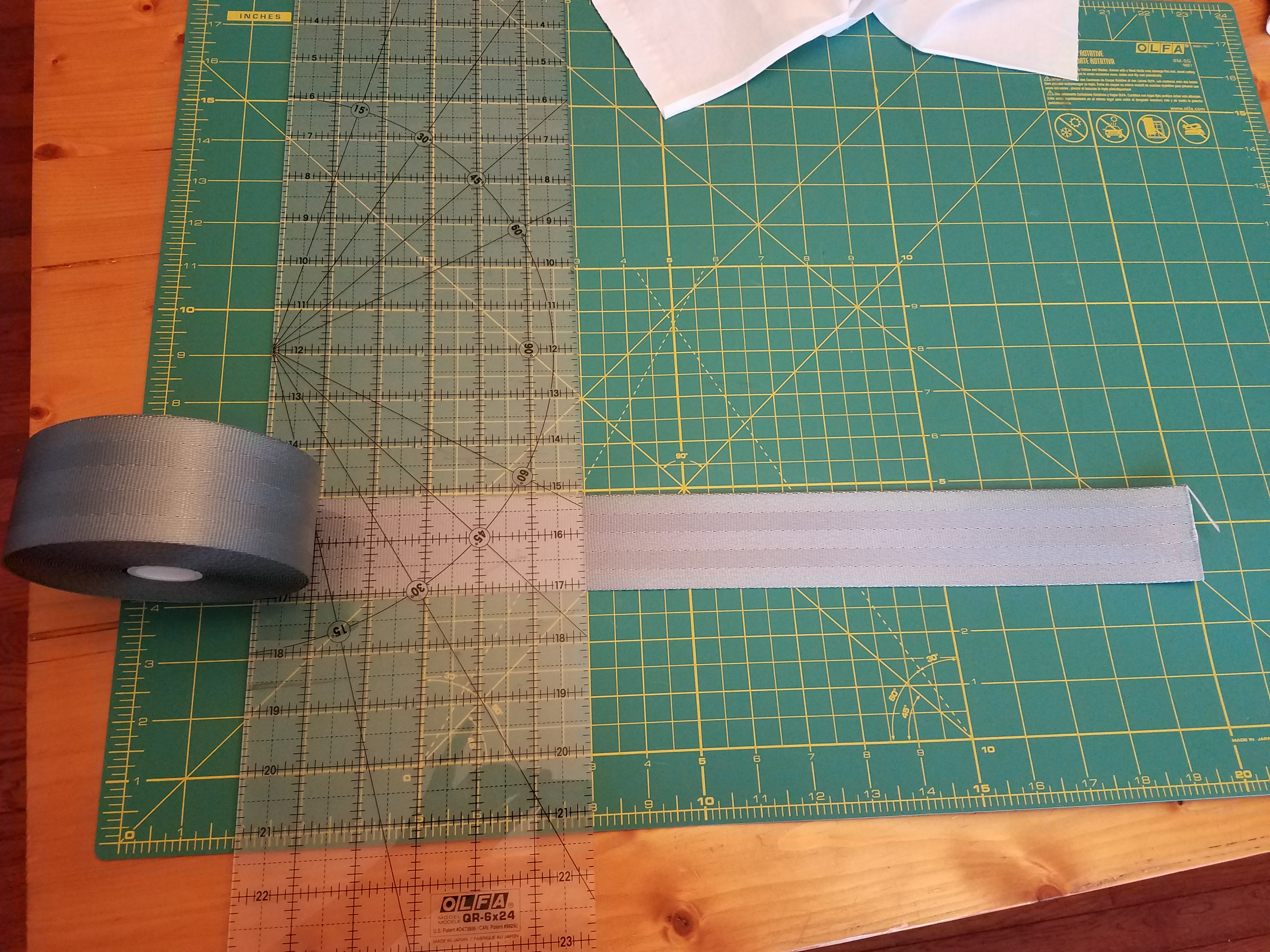 Picture of Cut Initial Seatbelt Material for Front and Back of Bag