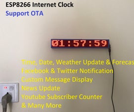 ESP8266 Internet Clock With Weather Update & Many More (No RTC)