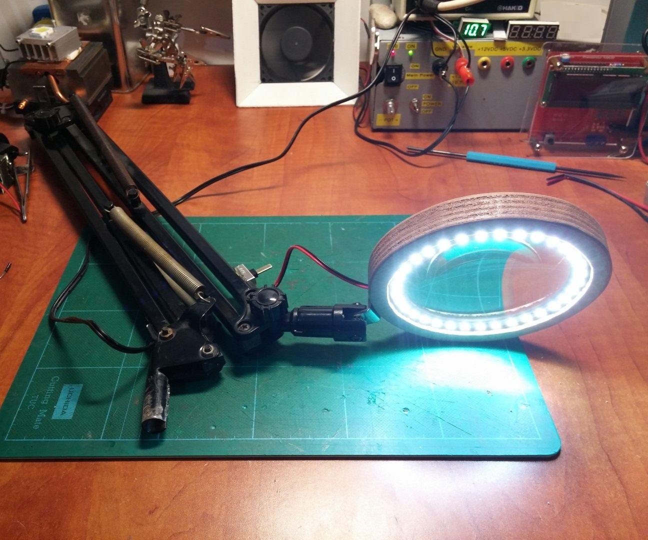 DIY Desktop LED Magnifier Lamp : 8 Steps (with Pictures