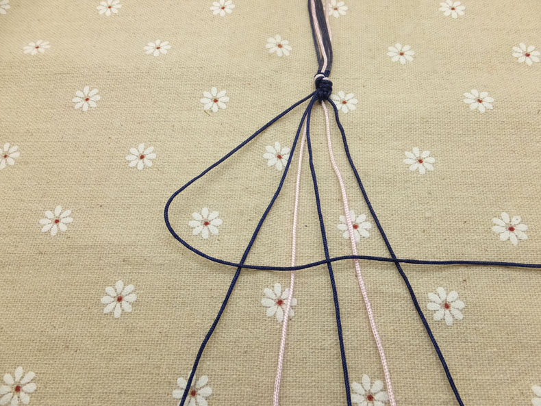 Picture of Now Pick Up the Outermost Cord on the Left Side (show Here in Dark Blue) and Make a Forward Knot by Creating a 4-shape Over the 2nd Cord.